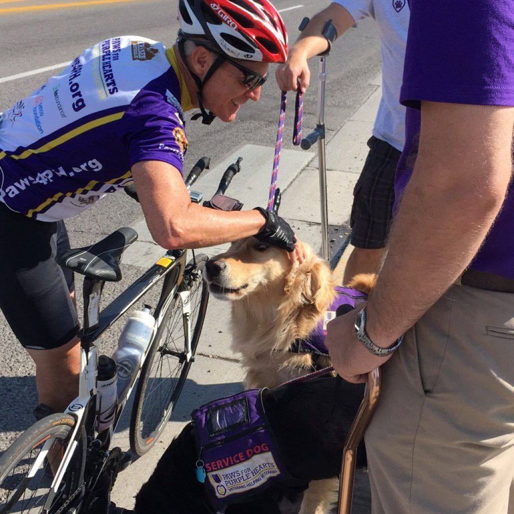 Veterans, service dogs, fundraising, cycling