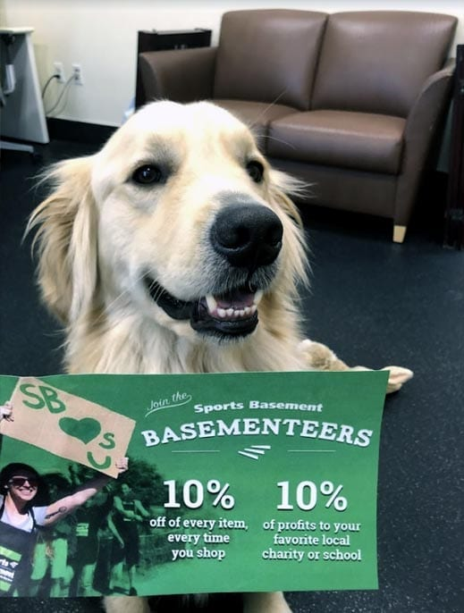Support Service Dogs in Training like Ozzy by shopping at Sports Basement Today!