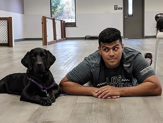 Riley with Veteran