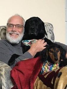 Richard, service dog Yoko, and pet dog Sadie