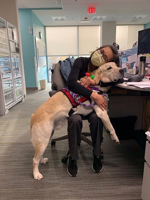 Ralph visits with VA staff