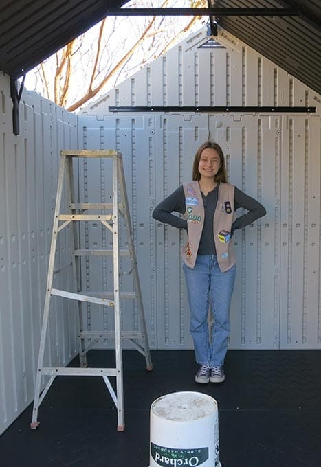 Dana in the initial stages of building the shed