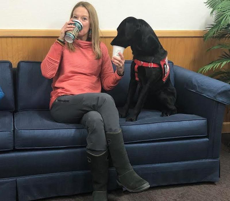 Specialist Therapy Dog Elma and her handler, Sara Baxter, a Licensed Clinical Social Worker (LCSW)